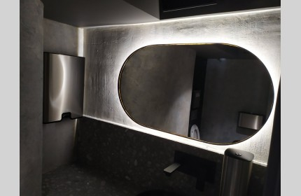 Зеркало ОВАЛ в раме с контурной подсветкой Амбилайт 50х90 см