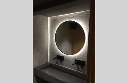Зеркало Круг в раме с контурной подсветкой Амбилайт