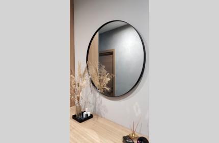Зеркало КРУГ в черной раме диаметром 80 см