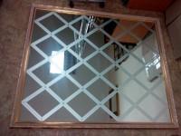 Панно из цельного зеркала с матовым рисунком