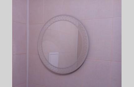 Небольшое зеркало Круг с матовым рисунком